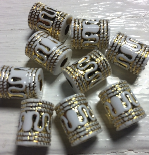 Acrylic Bead Gold/White 12mm 80 grams