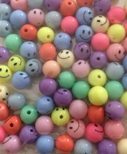 Acrylic Mixed Round Smiley Beads 10mm 80 grams
