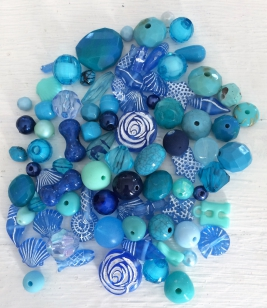 An Exciting Assorment of Blue Acrylic Beads, Great for Adults, children and parties +/ 80 grams