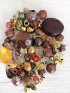 An Exciting Assorment of Brown and Gold Acrylic Beads, great for kids and parties +/ 80 grams
