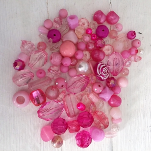 An Exciting Assorment of Pink Acrylic Beads, great for kids and part+/ 80 grams