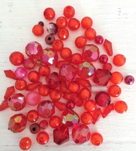 An Exciting Assorment of Red Acrylic Beads, great for kids and parties +/ 80 grams