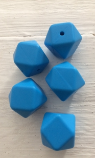 Baby Silicone Teething Hexagon Blue 17mm R40 (10 pieces) R4 each