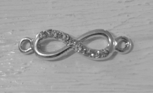 Metal Charm Diamante Infinity 23mm R40 5 pieces