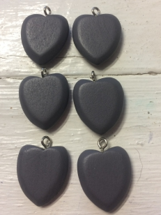 Wood Grey Heart 25mm R30 6 Pieces, These hearts are perfect for making Earrings and has a screw top so just add the Earring Hook