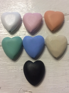 Wood Heart Hole Through 35mm  R40 (5 pieces) choose your own colours