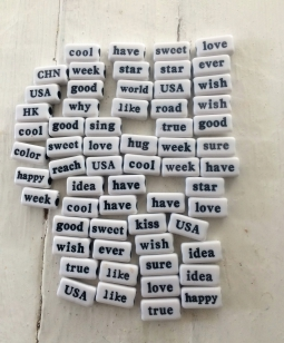 Word Beads, Black and White 15mm, an assortment of different words, these beads are so therapeutic and fun (words Like Love, Good, etc)