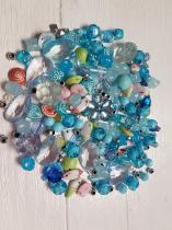 An Exciting Assortment of Acrylic Blue Beads in different shapes and sizes, always a winner