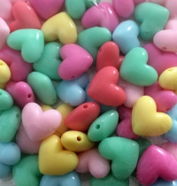 Acrylic Mixed Pastel Heart Beads 17mm, hole side by side,  80grams
