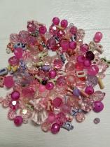 An Exciting Assortment of Acrylic Pink Beads in different shapes and sizes, always a winner