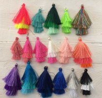 This is a Display of All our 3 Tier Tassels 50mm and 60mm, R60 6 pieces (Choose your Colour)