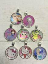 Character Metal Pendants with Glass Dome R150 ( you choose any 10 pictures)